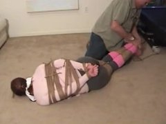 Tied with a lot of ropes and otm-gagged
