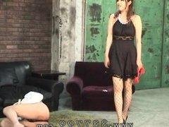 Japanese femdom slaves penis in hot wax.