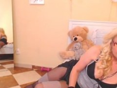 mature blond teases and dances on webcam pantyhose stockings
