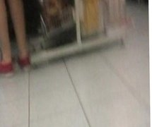 slow motion spy job of teen in tan pantyhose