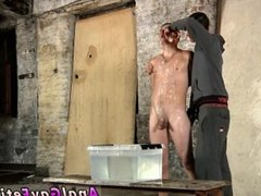 Gay twink bondage learns to suck cock first time Poor Leo can't escape as