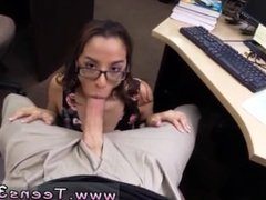 Busty brunette milf College Student Banged in my pawn shop!