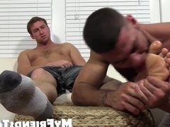 Connor receives foot worship from friend