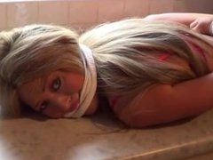 tied and gagged on counter top