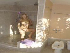 Tattooed blonde teen comes out of the shower for a nice fuck in VR