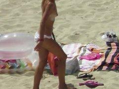 I can't wear a bra because of new tattoo ! Beach Voyeur