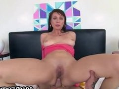 Sexy brunette gets fucked in the ass real hard