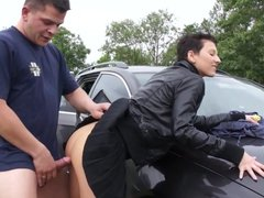 Girl with big boobs gets fucked in public