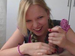 Great Handjob, amateur blonde, lovely smile