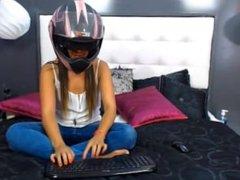 Camgirl motorcycle helmet dance:)