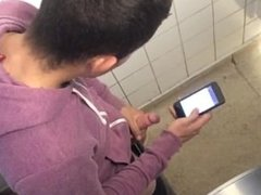 Caught hot boy jerking off in public toilet