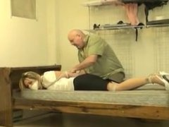 Kidnapped lady hogtied