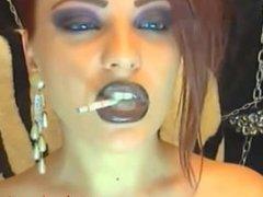 Amateur smoking on webcam