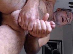 Hot hairy daddy bear having a nice load