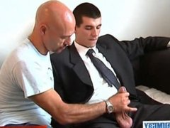 Full video: a sexy str8 innocent vendor guy serviced his big cock by a guy!