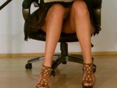 Secretary no panties upskirt