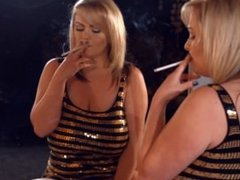 Huge natural busted chain smoking all white 120s smoking makeup