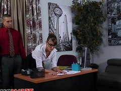 Cute secretary with perfect body gets punished in office