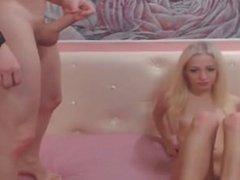 blonde girlfriend sucking and riding her boyfriends cock