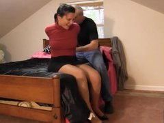 Red shirt woman in bedroom