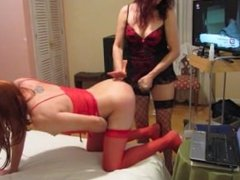 Strapon for my sissy hubby with webcam friend