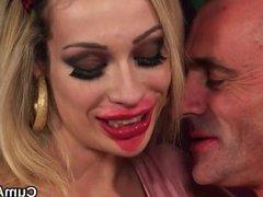 Slutty idol gets cumshot on her face swallowi