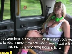 Bigtitted brit amateur gagging on cabbie cock