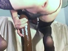 using my gaping ass with big black dildos