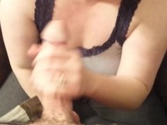 WIFE STARTS GRUMPY THEN GETS INTO THROATING IT! POV DEEPTHROAT BLOWJOB!