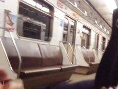 Risky public blowjob and swallow cum in a subway