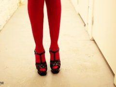 Red stockings and black stiletto high heels sandals walking