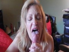 Amateur Blonde Wife Licks Up Cum After Blowjob