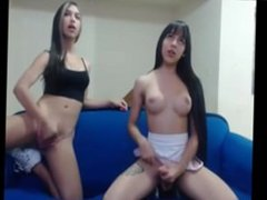 Two Trannies Jerk Off Together