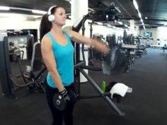 Fitness girl training biceps triceps