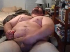 Chubby bear stroking and cumming hard