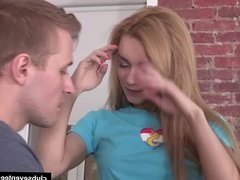 Slim teen gets fucked by a big cock