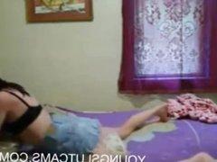 teen wearing short skirts grinds her pillow