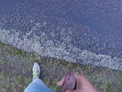 Jerk-off my fat cock on the side of the road