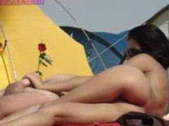 Girlfriend Hot Handjob on the beach