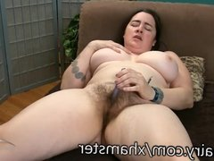 Cori has some fun with her super hairy pussy