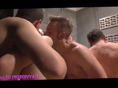 Gay locker room group sex