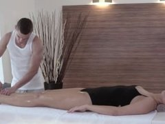 Slutty blonde Nikky Dream getting fucked on the massage table