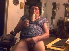 crossdresser eating her cum