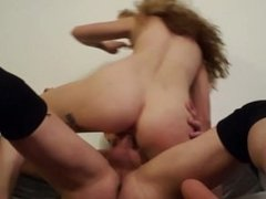 Tiny teen sucks and fucks big cock.