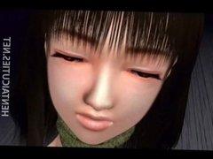 Horny 3D anime chick gets slit fingered