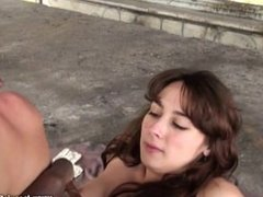 Young French girl blacked outdoor