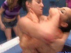 Hazed lesbos get naked