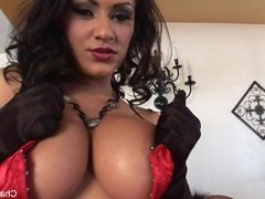 Dolled up Charley plays w/ her pierced pussy