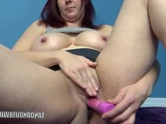 Lia Shayde lifts her skirt and does a dildo