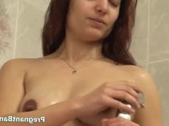 Expectant Girl Gets Soapy In Shower